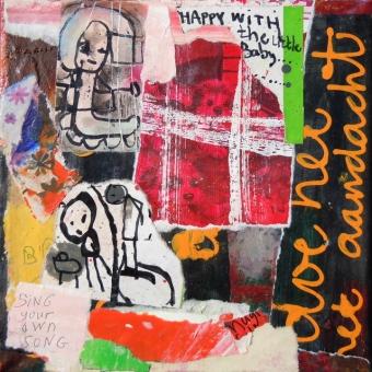 Collage kunstwerk 'Doe het met aandacht'