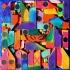 Collage kunstwerk 'Happy Hippie Home' VERKOCHT