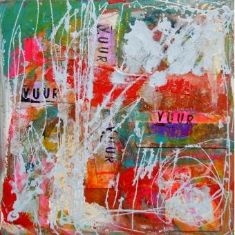 Mixed media kunstwerk 'Vuur'