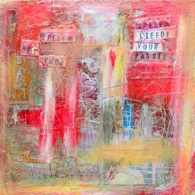 Collage kunstwerk 'Spelen met vuur'