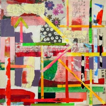 Collage kunstwerk 'The path of joy'