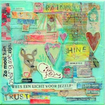 Collage kunstwerk 'Wees een licht voor jezelf'