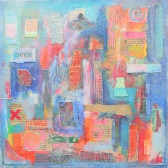 Abstract collage kunstwerk 'Zomer'
