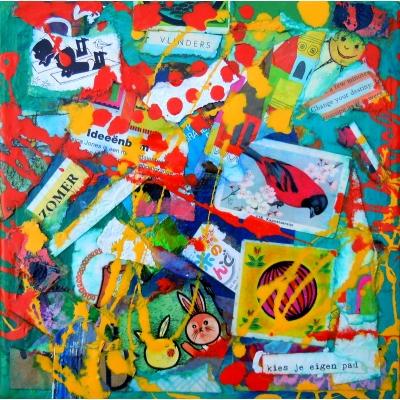 Collage kunstwerk 'Kies je eigen pad'