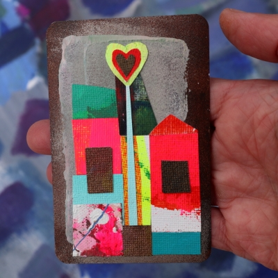 Collage kunstwerk 'Home is where the heart is'