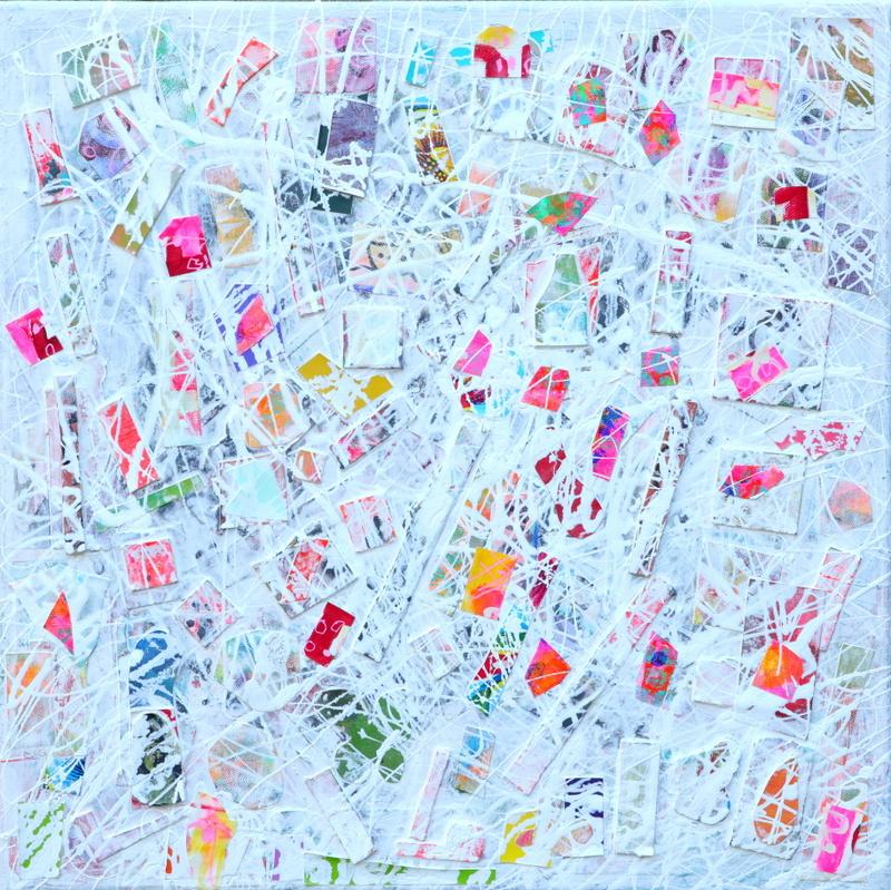 Schilderij a la Pollock wit