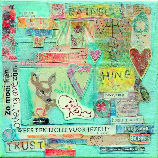 Collage kunstwerk wees een licht voor jezelf