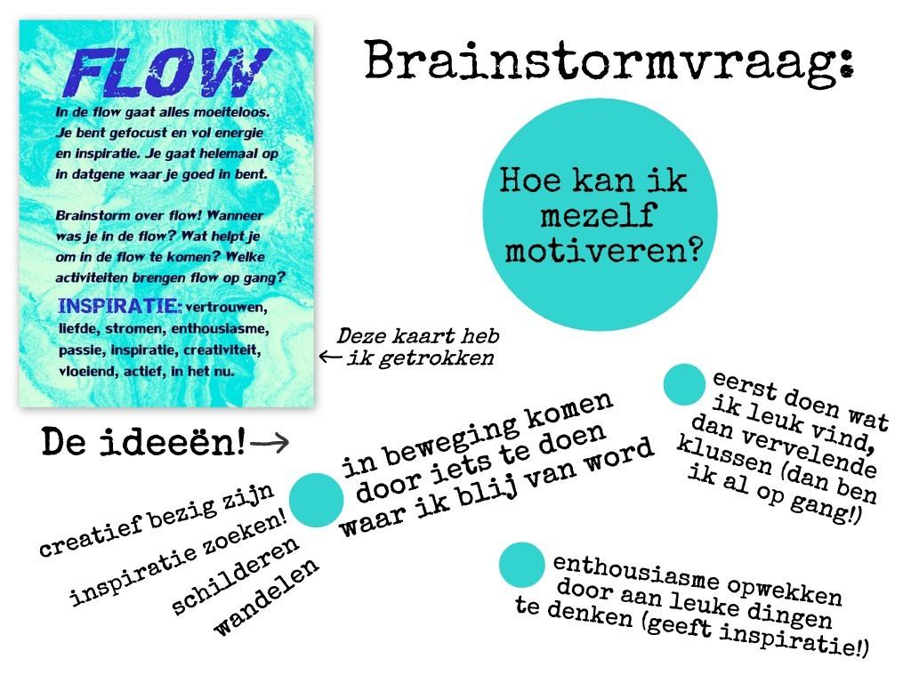 Voorbeeld brainstormsessie van de brainstormkaart Flow met de vraag: Hoe kan ik mezelf motiveren?